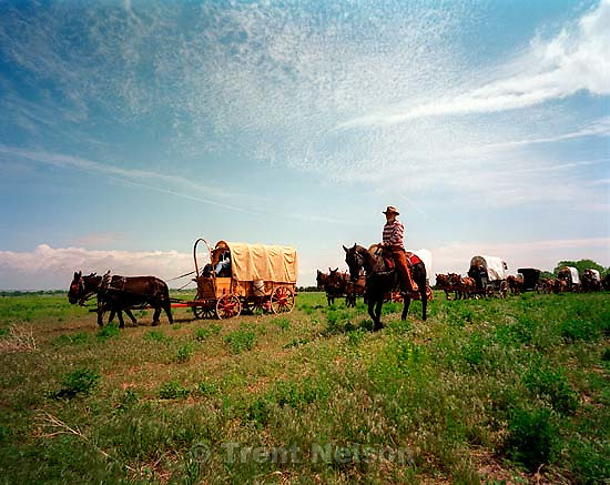 The Mormon Trail Wagon Train pulls in for a lunch break.<br />