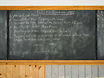One-room school and Masonic Hall, ghost town of Bannock, Montana, first territorial capital of the region<br /> <br /> Rules for Teachers, 1915 on the chalkboard