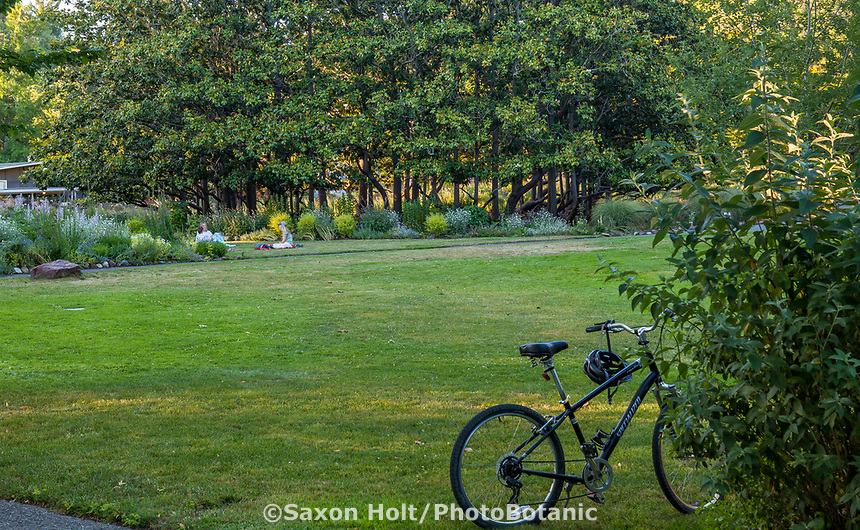 Bicycle parked at edge of lawn at Marin Art and Garden Center