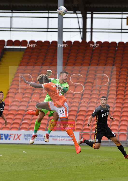 08/09/2018 Sky Bet League 1 Blackpool v Bradford City<br /> <br /> Armand Gnanduillet fouled by Bradford City goalkeeper Richard O'Donnell earns Blackpool their firs penalty