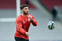 Owen Williams of Gloucester Rugby passes the ball during the pre-match warm-up. Gallagher Premiership match, between Harlequins and Gloucester Rugby on March 10, 2019 at the Twickenham Stoop in London, England. Photo by: Patrick Khachfe / JMP