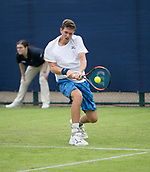 June 10th 2017,  Nottingham, England; ATP Aegon Nottingham Open Tennis Tournament day 1; Neil Pauffley of Great Britain in action as he is beaten by countryman Lloyd Glasspool