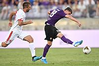 Dusan Vlahovic of Fiorentina scores goal of 1-1 <br /> Firenze 19/08/2019 Stadio Artemio Franchi <br /> Football Italy Cup 2019/2020 <br /> ACF Fiorentina - Monza  <br /> Foto Andrea Staccioli / Insidefoto