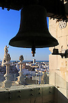 Rooftops of buildings in Barrio de la Vina, looking west from cathedral bell tower, Cadiz, Spain