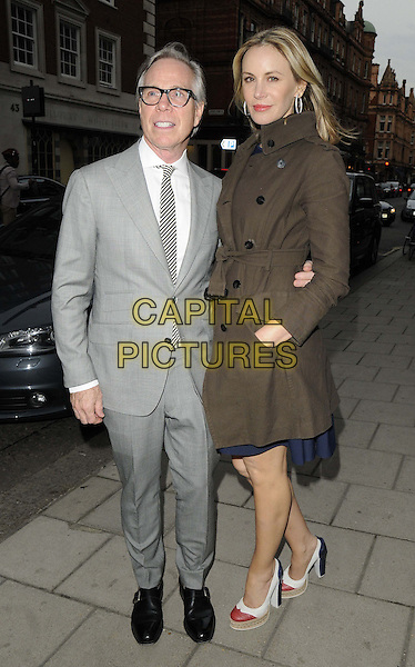 Tommy Hilfiger &amp; Dee Ocleppo<br /> attended the Jonathan Newhouse &amp; Tommy Hilfiger dinner, 34 bar &amp; restaurant,  Grosvenor Square, London, England.<br /> June 17th, 2013<br /> full length grey gray suit brown jacket glasses tall short married husband wife <br /> CAP/CAN<br /> &copy;Can Nguyen/Capital Pictures