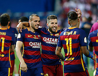 FC Barcelona´s  defense Jordi Alba  celebrating afer winning the final of Copa del Rey