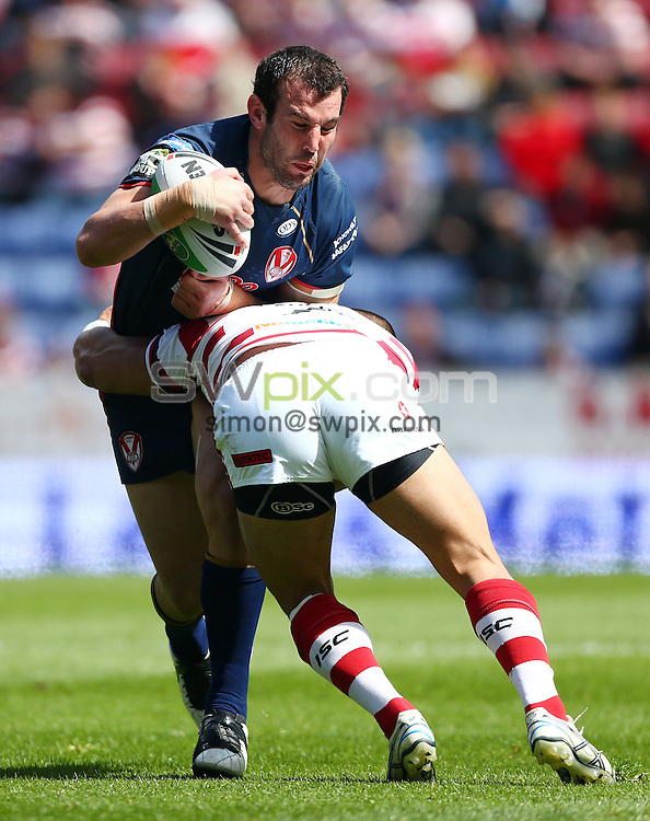 PICTURE BY VAUGHN RIDLEY/SWPIX.COM - Rugby League - Challenge Cup Quarter-Finals - Wigan Warriors v St Helens Saints - DW Stadium, Wigan, England - 12/05/12 - St Helens Anthony Laffranchi.