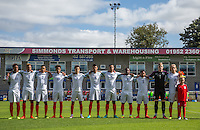 The England team stand together for the National Anthem during the International match between England U19 and Netherlands U19 at New Bucks Head, Telford, England on 1 September 2016. Photo by Andy Rowland.