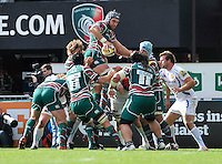 Aviva Premiership. Graham Kitchener of Leicester Tigers wins the line out during the Aviva Premiership match between Leicester Tigers and Exeter Chiefs at Welford Road on September 29. 2012 in Leicester, England.