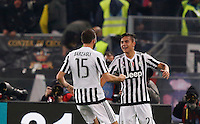 Calcio, Serie A: Lazio vs Juventus. Roma, stadio Olimpico, 4 dicembre 2015.<br /> Juventus&rsquo; Paulo Dybala, right, celebrates with teammate Andrea Barzagli after scoring during the Italian Serie A football match between Lazio and Juventus at Rome's Olympic stadium, 4 December 2015.<br /> UPDATE IMAGES PRESS/Riccardo De Luca