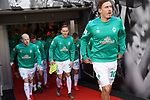 17.03.2019, BayArena, Leverkusen, GER, 1. FBL, Bayer 04 Leverkusen vs. SV Werder Bremen,<br />  <br /> DFL regulations prohibit any use of photographs as image sequences and/or quasi-video<br /> <br /> im Bild / picture shows: <br /> Auflaufen Bremer Max Kruse (Werder Bremen #10), Davy Klaassen (Werder Bremen #30), Ludwig Augustinsson (Werder Bremen #5), <br /> <br /> Foto © nordphoto / Meuter