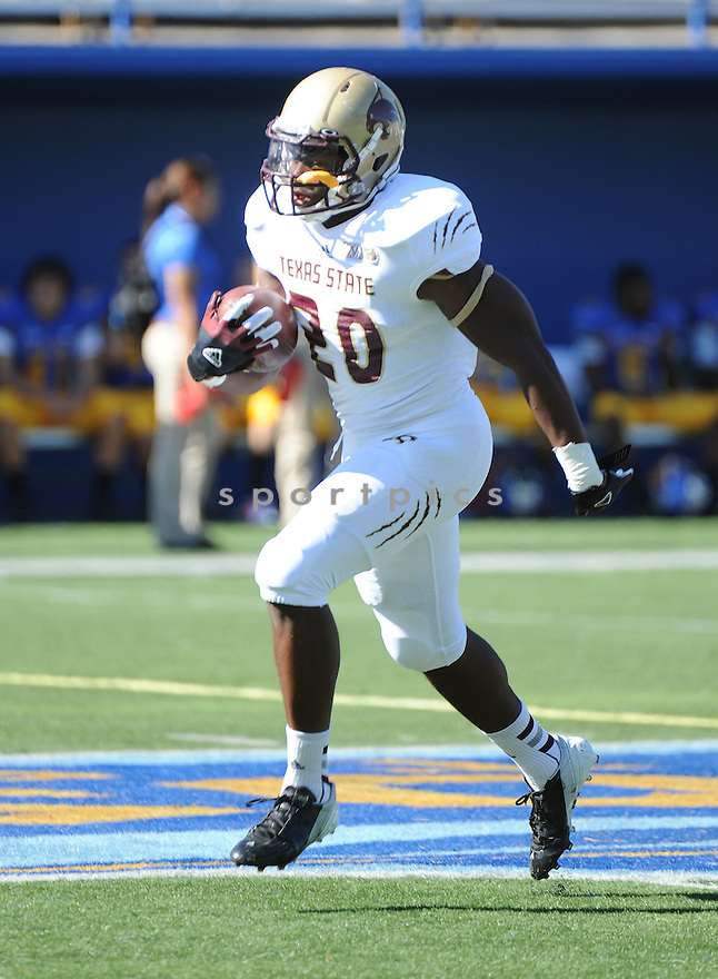 Texas State Bobcats Terrence Franks (20) in action during a game against San Jose State on October 27, 2012 at Spartan Stadium in San Jose, CA. San Jose State beat Texas State 31-20.