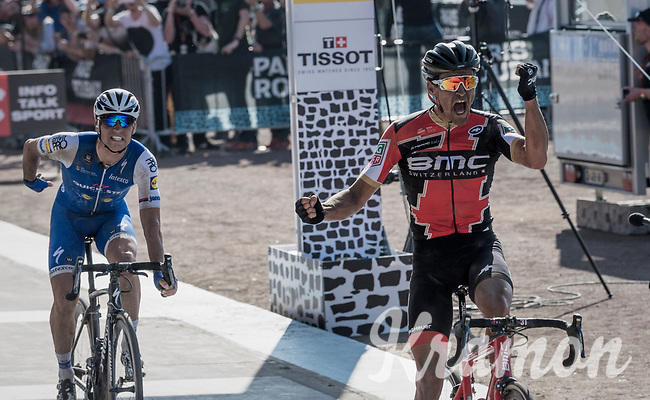 Victory sprint for Greg Van Avermaet (BEL/BMC), beating Zdenek Stybar (CZE/Quick Step Floors) to the finish line<br /> <br /> 115th Paris-Roubaix 2017 (1.UWT)<br /> One Day Race: Compi&egrave;gne &rsaquo; Roubaix (257km)