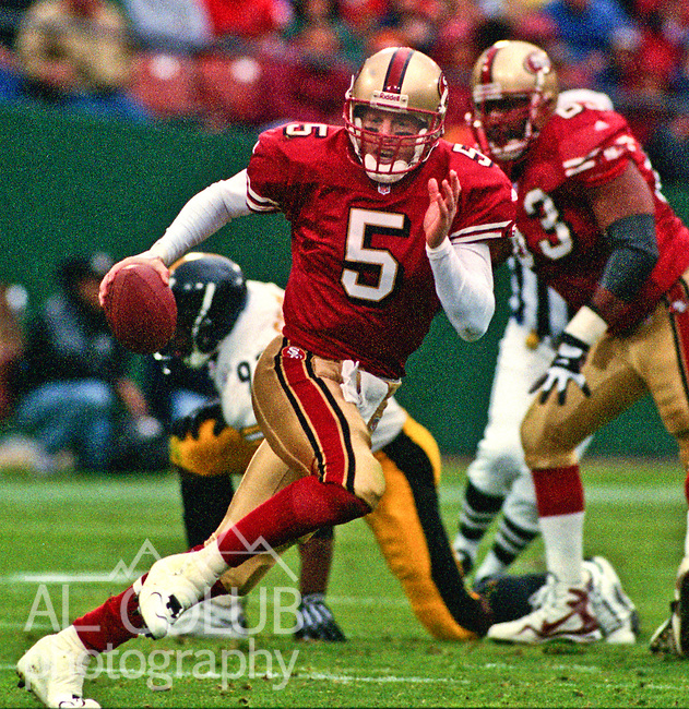 San Francisco 49ers vs. Pittsburgh Steelers at Candlestick Park Sunday, November 7, 1999.  Steelers beat 49ers  27-6.  San Francisco 49ers quarterback Jeff Garcia (5).