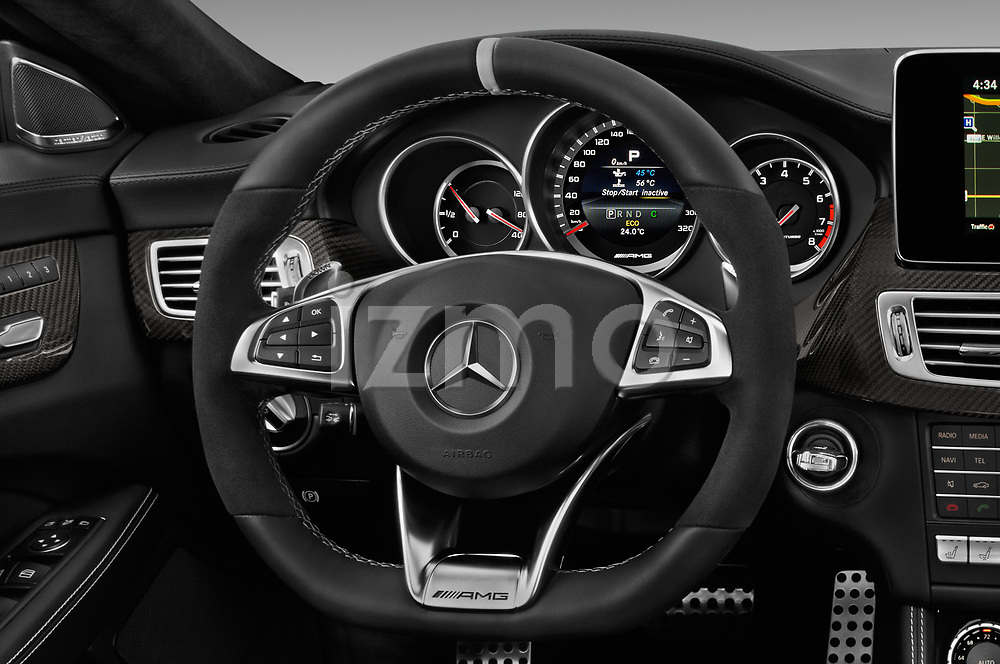 Car pictures of steering wheel view of a 2017 Mercedes Benz CLS AMG-63-S 4 Door Sedan Steering Wheel