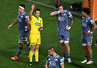 5th July 2020; Hamilton, New Zealand;  Scott Scrafton is red carded by referee Ben O'Keeffe.<br />