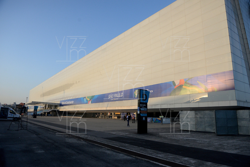 SAO PAULO – BRASIL, 28-06-2019: Fachada del Arena Corinthias es vista previo al partido por cuartos de final de la Copa América Brasil 2019 entre Colombia y Chile jugado en el Arena Corinthians de Sao Paulo, Brasil. / The facade of the Arena Corinthias is seen prior the Copa America Brazil 2019 quarter-finals match between Colombia and Chile played at Arena Corinthians in Sao Paulo, Brazil. Photos: VizzorImage / Julian Medina / Cont /