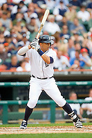 Victor Martinez (41) of the Detroit Tigers at bat against the Los Angeles Angels at Comerica Park on June 25, 2013 in Detroit, Michigan.  The Angels defeated the Tigers 14-8.  (Brian Westerholt/Four Seam Images)