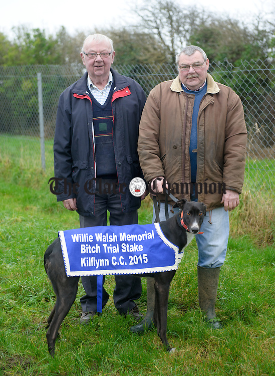 Owner Alphonsus Tubridy of Mullagh and trainer Mick Nestor of Miltown Malbay with Not Really which will compete in Clonmel. Photograph by John Kelly.
