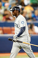 Seattle Mariners outfielder Trayvon Robinson #12 during an American League game against the Toronto Blue Jays at the Rogers Centre on September 13, 2012 in Toronto, Ontario.  Toronto defeated Seattle 8-3.  (Mike Janes/Four Seam Images)