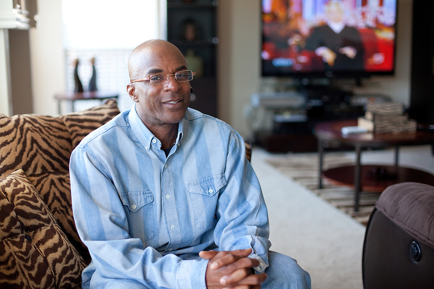 DNA Exonerated prisoner Thomas McGowan, sits in the living room of his home in Garland, Texas.