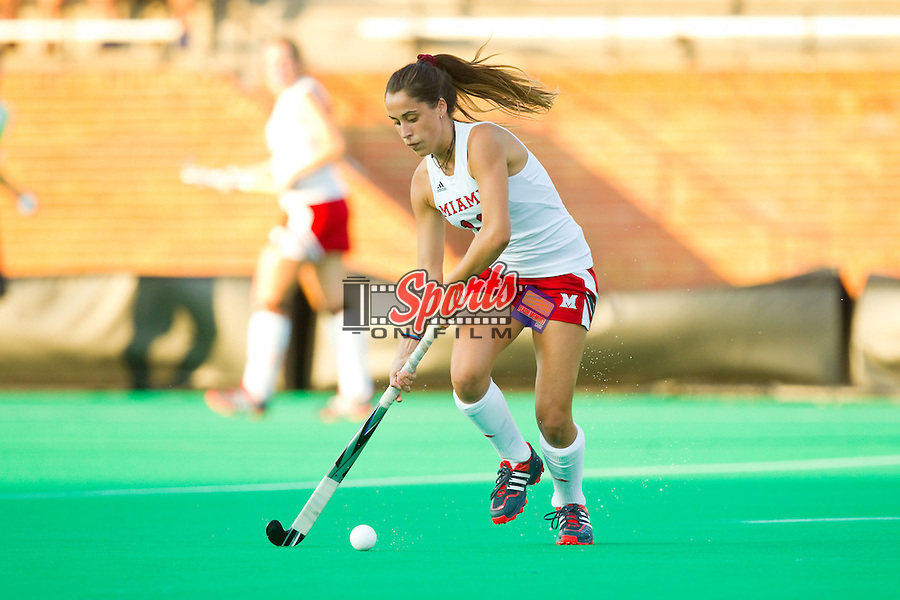 Carla Romogosa (19) of the Miami RedHawks controls the ball during first half action against the Wake Forest Demon Deacons at Kentner Stadium on August 30, 2013 in Winston-Salem, North Carolina.  The Demon Deacons defeated the RedHawks 3-2.  (Brian Westerholt/Sports On Film)
