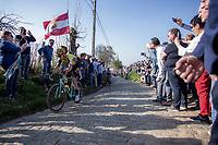 Wout Van Aert (BEL/Jumbo-Visma) up the Oude Kwaremont<br /> <br /> 62nd E3 Harelbeke 2019 (1.UWT)<br /> Harelbeke – Harelbeke: 203,9km<br /> ©kramon