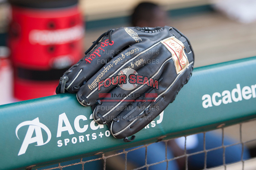 Baseball glove of Detroit Tigers outfielder Torii Hunter before the MLB baseball game against the Houston Astros on May 3, 2013 at Minute Maid Park in Houston, Texas. Detroit defeated Houston 4-3. (Andrew Woolley/Four Seam Images).