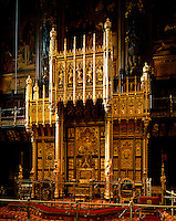 The Throne, with chairs of State for Prince Consort amd Prince of Wales, and surmounted by its canopy, is the decorative climax of the Palace