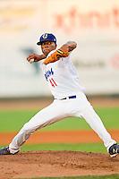 Ogden Raptors relief pitcher Sawil Gonzalez (41) in action against the Orem Owlz at Lindquist Field on July 27, 2012 in Ogden, Utah.  The Raptors defeated the Owlz 6-3.   (Brian Westerholt/Four Seam Images)