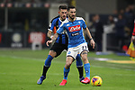 Cristiano Biraghi of Inter closes in on Matteo Politano of Napoli during the Coppa Italia match at Giuseppe Meazza, Milan. Picture date: 12th February 2020. Picture credit should read: Jonathan Moscrop/Sportimage