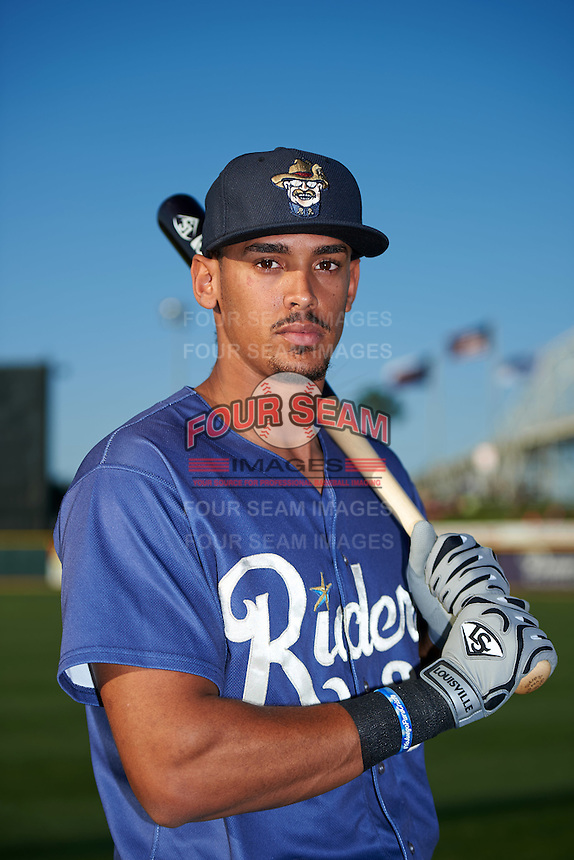 Frisco RoughRiders first baseman Ronald Guzman (31) poses for a photo before a game against the Corpus Christi Hooks on April 23, 2016 at Whataburger Field in Corpus Christi, Texas.  Corpus Christi defeated Frisco 3-2.  (Mike Janes/Four Seam Images)