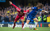 David Luiz of Chelsea & Troy Deeney of Watford during the Premier League match between Chelsea and Watford at Stamford Bridge, London, England on 21 October 2017. Photo by Andy Rowland.