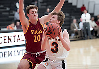 #3 Anthony Hollerich<br /> The Occidental College men's basketball team plays against Claremont-Mudd-Scripps on February 12, 2020 in Rush Gym. Oxy won 58-49.<br /> (Photo by Marc Campos, Occidental College Photographer)