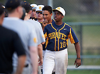 Boca Ciega Pirates Darius Blasingane (10) after a game against the Lakeland Spartans at Boca Ciega High School on March 2, 2016 in St. Petersburg, Florida.  Boca Ciega defeated Lakewood 2-1.  (Mike Janes/Four Seam Images)