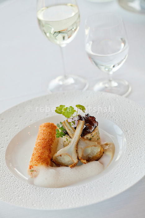 Parmesan-crusted turbot fillets in a vin de Bellet sauce accompanied by artichoke bulgur laced with summer truffles, prepared by head chef Philippe Jégo at restaurant 'Les Pêcheurs', Cap d'Antibes Beach Hotel, Antibes, France, 26 April 2012. Vin de Bellet is a white wine local to Nice.