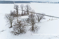 63895-16804 Pleasant Grove Methodist Church in snow-winter-aerial-Marion Co. IL