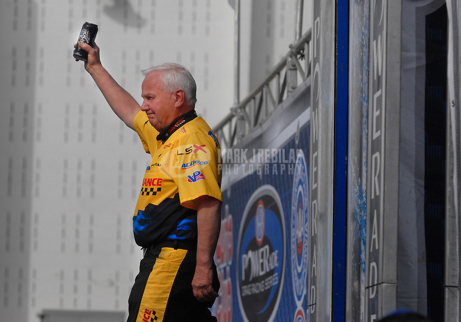Nov 4, 2007; Pomona, CA, USA; NHRA pro stock driver Warren Johnson during the Auto Club Finals at Auto Club Raceway at Pomona. Mandatory Credit: Mark J. Rebilas-US PRESSWIRE