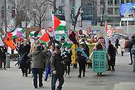 March 3, 2013  (Washington, DC)  Dozens of people protested in front of the Washington Convention Center where the American Israeli Political Action Committee (AIPAC) held its annual policy conference.  (Photo by Don Baxter/Media Images International)