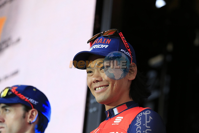 Yukiya Arashiro (JPN) Bahrain-Merida on stage at the Team Presentation in Burgplatz Dusseldorf before the 104th edition of the Tour de France 2017, Dusseldorf, Germany. 29th June 2017.<br /> Picture: Eoin Clarke | Cyclefile<br /> <br /> <br /> All photos usage must carry mandatory copyright credit (&copy; Cyclefile | Eoin Clarke)