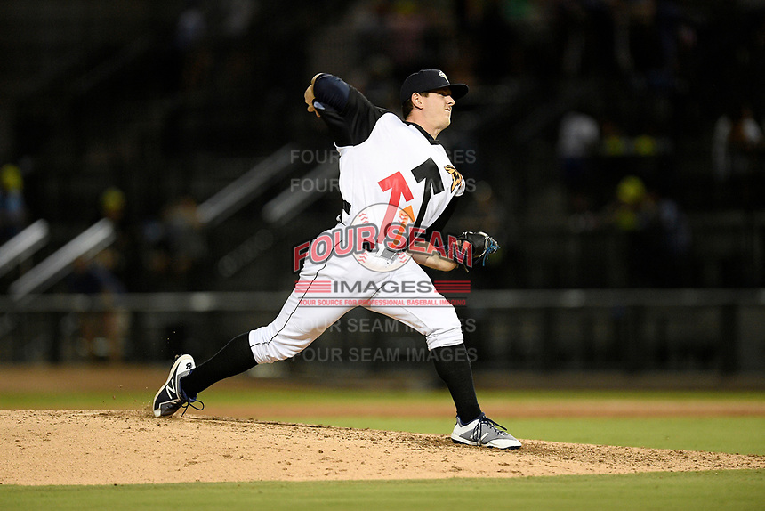 Pitcher Billy Oxford (18) of the Columbia Fireflies delivers a pitch in a game against the Lexington Legends on Thursday, June 13, 2019, at Segra Park in Columbia, South Carolina. Lexington won, 10-5. (Tom Priddy/Four Seam Images)