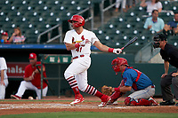 Palm Beach Cardinals Juan Yepez (41) bats during a Florida State League game against the Clearwater Threshers on August 9, 2019 at Roger Dean Chevrolet Stadium in Jupiter, Florida.  Palm Beach defeated Clearwater 3-0 in the second game of a doubleheader.  (Mike Janes/Four Seam Images)