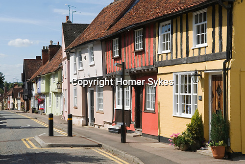 Saffron Walden Essex England 2009. Castle Street traditional colourful buildings.