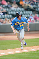 Billy McKinney (20) of the Myrtle Beach Pelicans takes off for home plate against the Winston-Salem Dash at BB&T Ballpark on April 18, 2015 in Winston-Salem, North Carolina.  The Pelicans defeated the Dash 8-4 in game two of a double-header.  (Brian Westerholt/Four Seam Images)