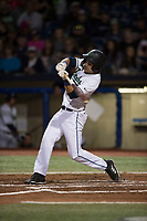 Hillsboro Hops right fielder William Gorman (7) swings at a pitch during a Northwest League game against the Salem-Keizer Volcanoes at Ron Tonkin Field on September 1, 2018 in Hillsboro, Oregon. The Salem-Keizer Volcanoes defeated the Hillsboro Hops by a score of 3-1. (Zachary Lucy/Four Seam Images)