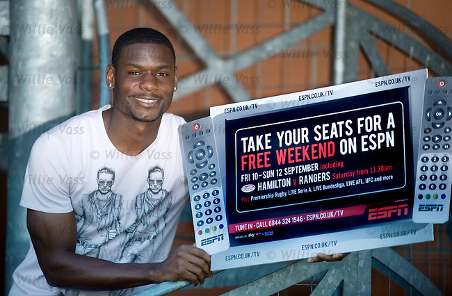 Maurice Edu promotes ESPN's free TV weekend for the Hamilton v Rangers SPL match