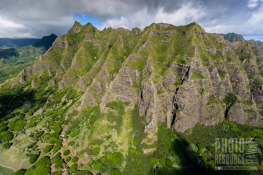 An aerial view of the Ko'olau Mountains, Kualoa, Windward O'ahu.