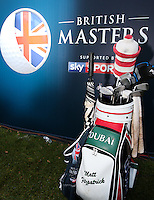 The bag of Matthew Fitzpatrick (ENG) winner of the Final Round of the British Masters 2015 supported by SkySports played on the Marquess Course at Woburn Golf Club, Little Brickhill, Milton Keynes, England.  11/10/2015. Picture: Golffile | David Lloyd<br /> <br /> All photos usage must carry mandatory copyright credit (© Golffile | David Lloyd)