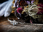 Tripple moon bridal Tiara headpiece Celtic wedding accessorie and a bouquet of dried wild flowers artistic still life