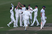 Mark Footitt of Nottinghamshire celebrates with his team mates after taking the wicket of Nick Browne during Nottinghamshire CCC vs Essex CCC, Specsavers County Championship Division 1 Cricket at Trent Bridge on 12th September 2018